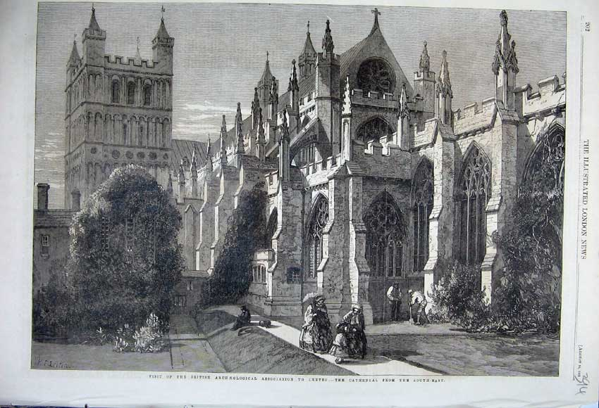 Print 1861 Cathedral Exeter British Archaeological Society 394N112 Old Original