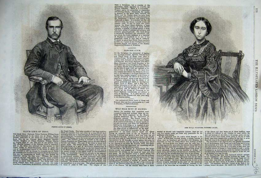 Print 1861 Portrait Prince Louis Hesse Royal Princess Alice 396N112 Old Original