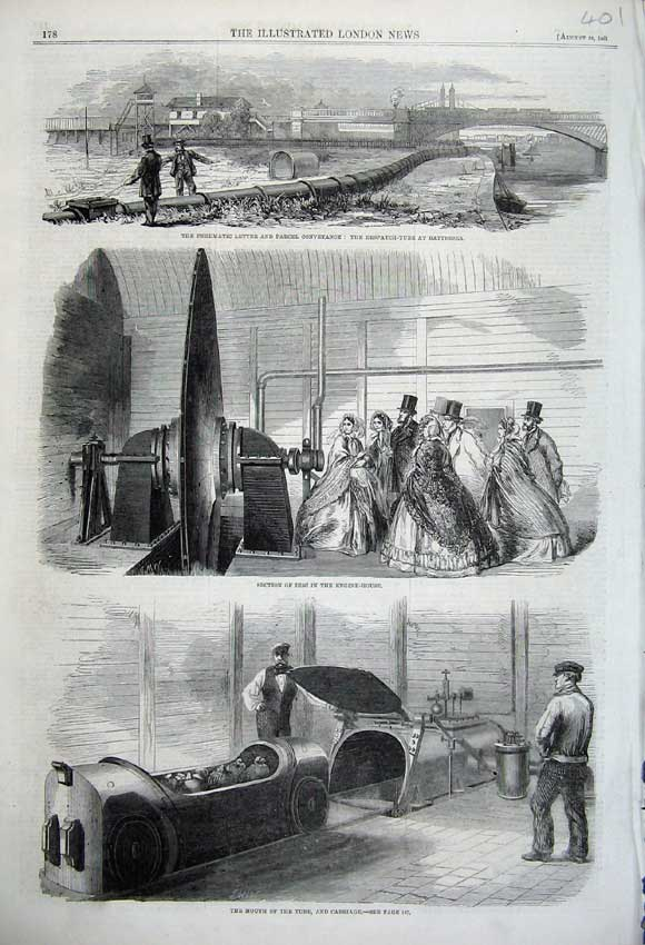 Print 1861 Pneumatic Letter Despatch Tube Battersea Engine 401N112 Old Original