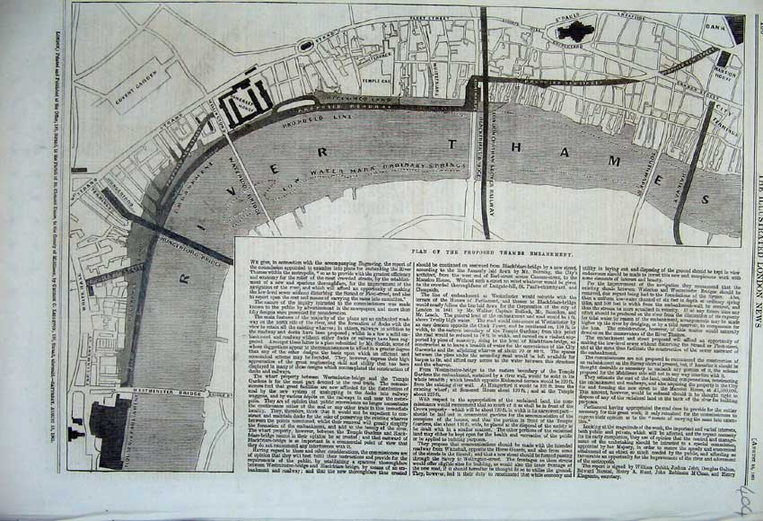Print 1861 Plan Proposed River Thames Embankment Covent 404N112 Old Original
