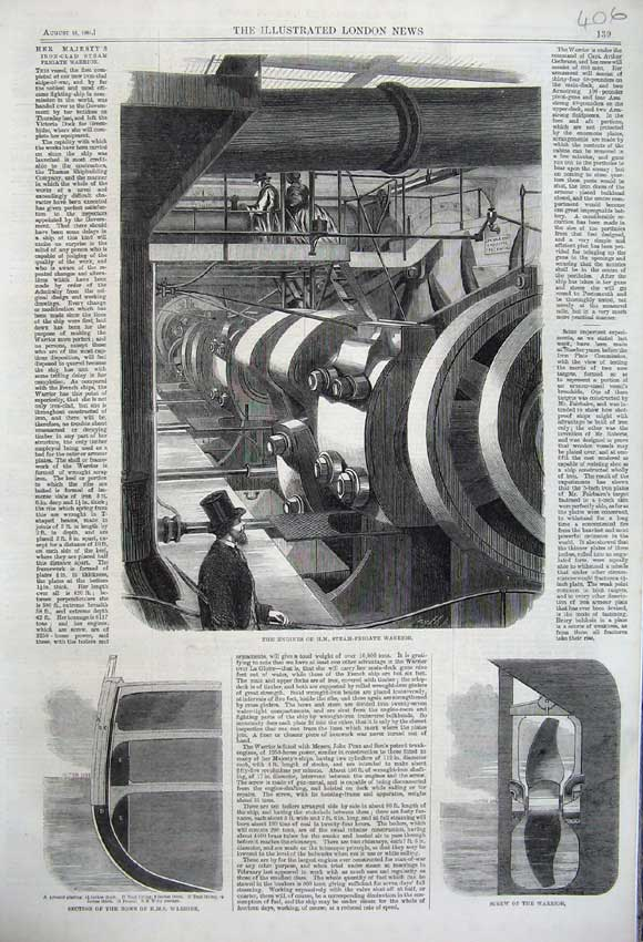 Print 1861 Engines Steam Frigate Warrior Bows Screw Ship 406N112 Old Original