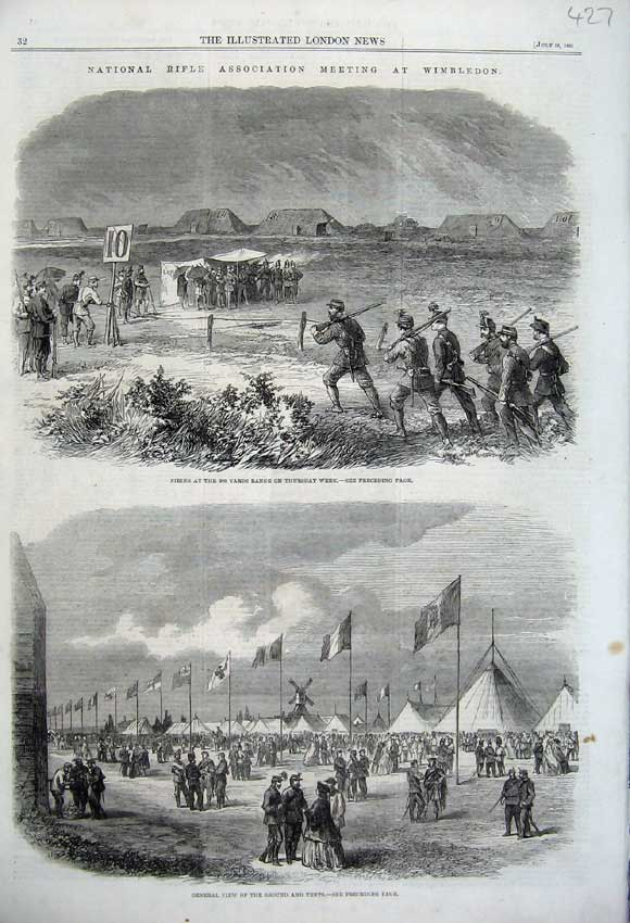 Print 1861 Rifle Meeting Wimbledon View Tents Firing Range 427N112 Old Original