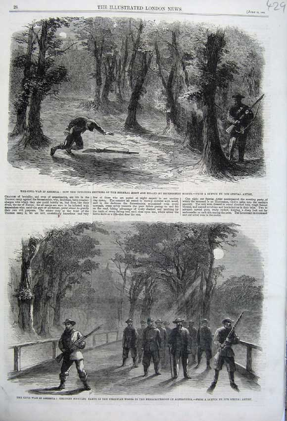 Print 1861 Civil War America Federal Army Unionist Scouting 429N112 Old Original