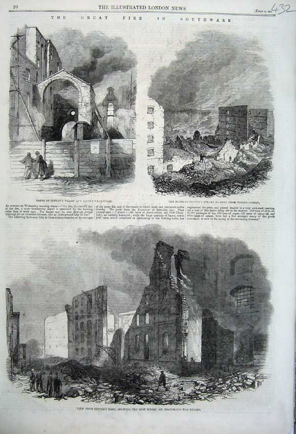 Print 1861 Fire Southwater Cotton'S Wharf Yard Warehouse 432N112 Old Original