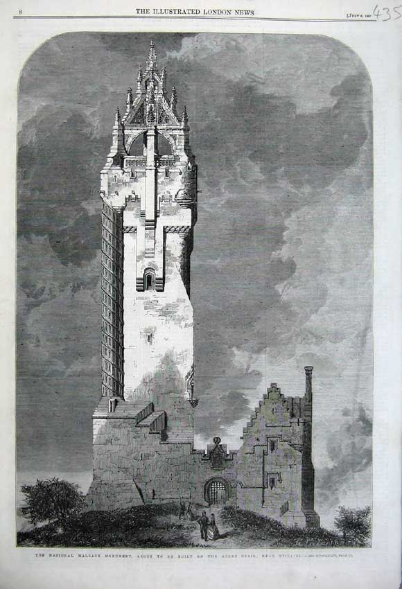 Print National Wallace Monument 1861 Abbey Craig Stirling 435N112 Old Original
