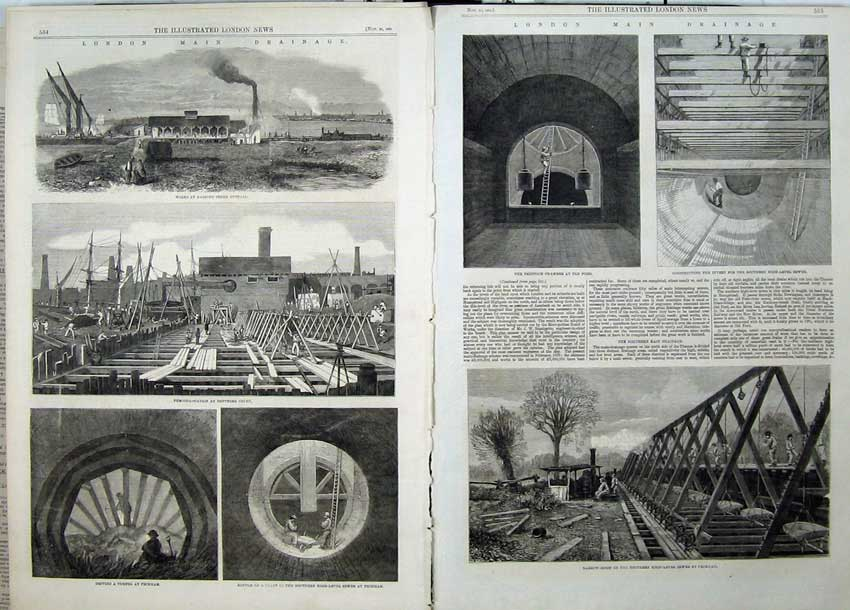 Print 1861 London Drainage Tunnels Penstok Chamber Train 504Tn112 Old Original