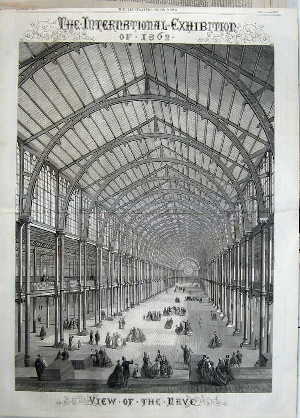 Print 1861 International Exhibition Building Interior Nave 516Tn112 Old Original