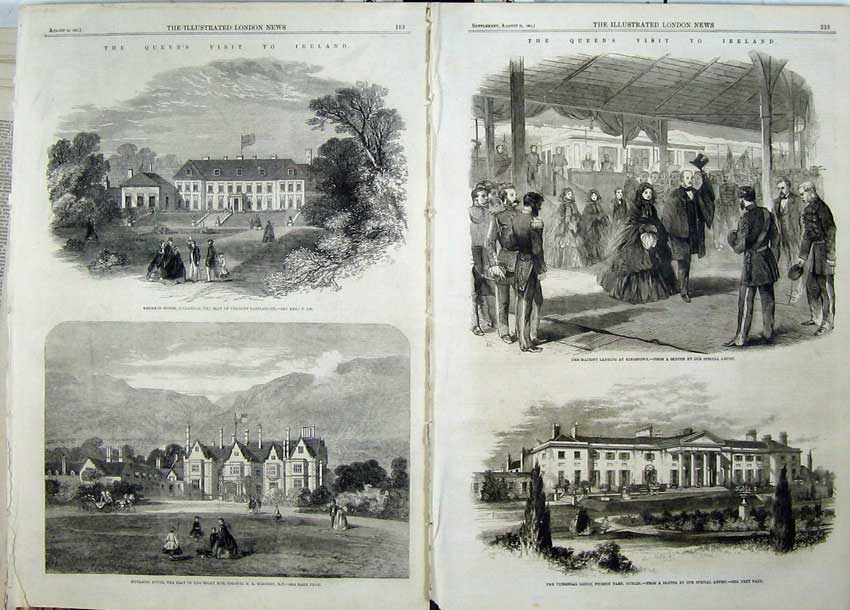 Print 1861 Queen Visit Ireland Viceregal Lodge Dublin Kenmare 520Tn112 Old Original