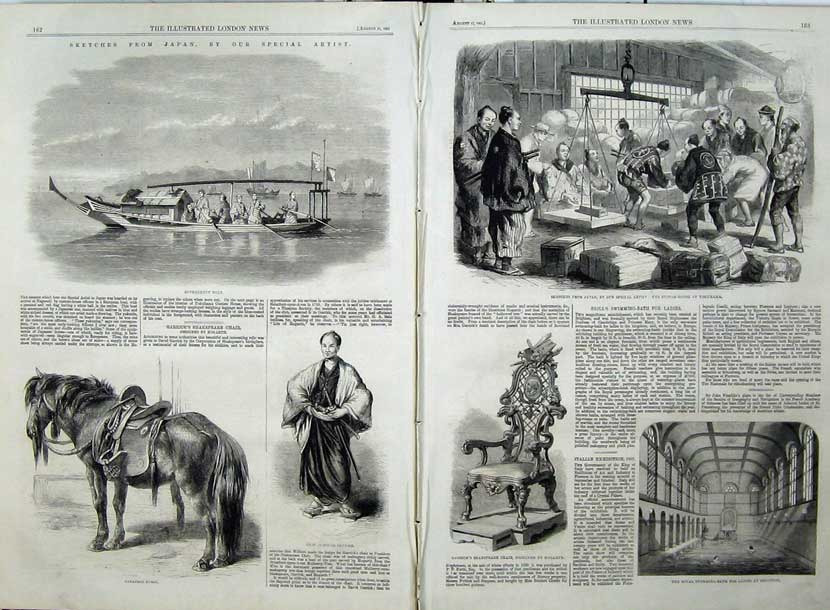 Print 1861 Japan Horse Government Boat Custom House Swimming 522Tn112 Old Original