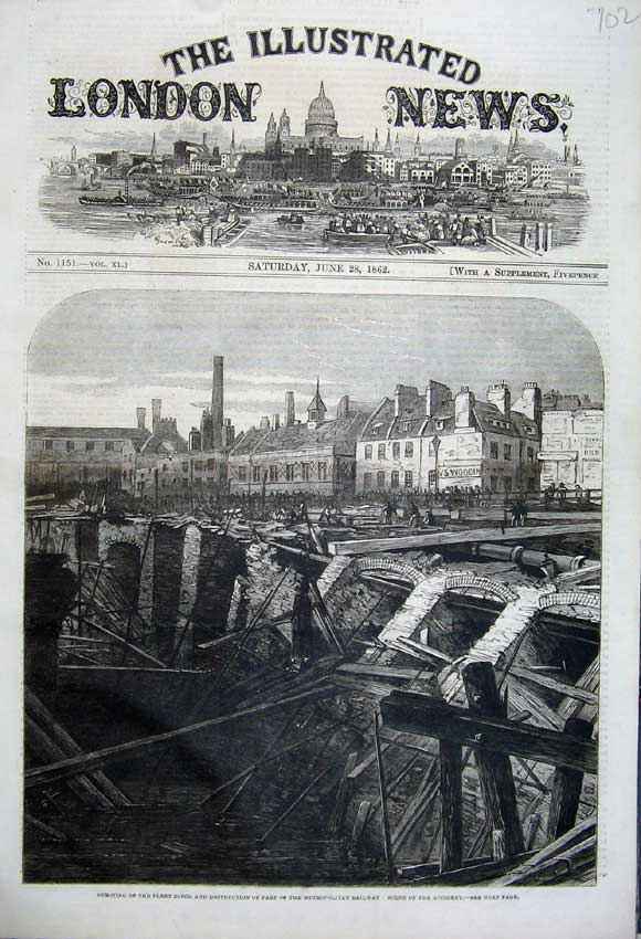 Print 1862 Bursting Fleet Ditch Metroploitan Railway Accident 102N113 Old Original