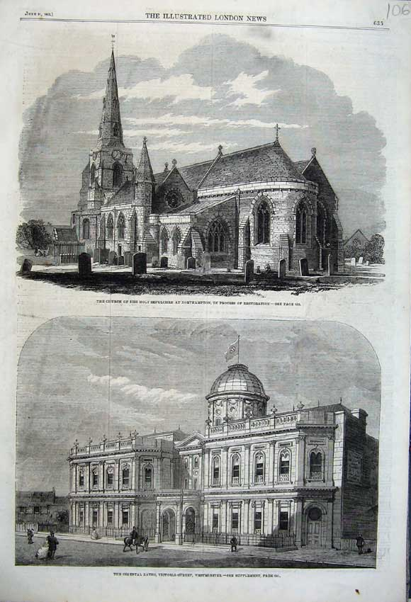 Print 1862 Church Sepulchre Northampton Oriental Baths London 106N113 Old Original