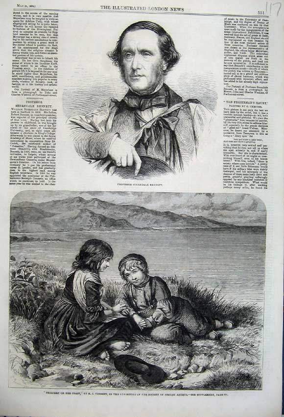 Print Professor Bennett 1862 Children Coast Lake Mountains 117N113 Old Original