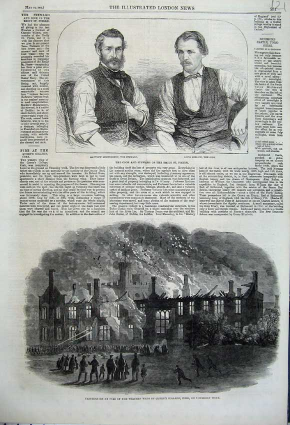 Print Fire Queen'S College Cork 1862 Montgomery Shelvin Emily 121N113 Old Original