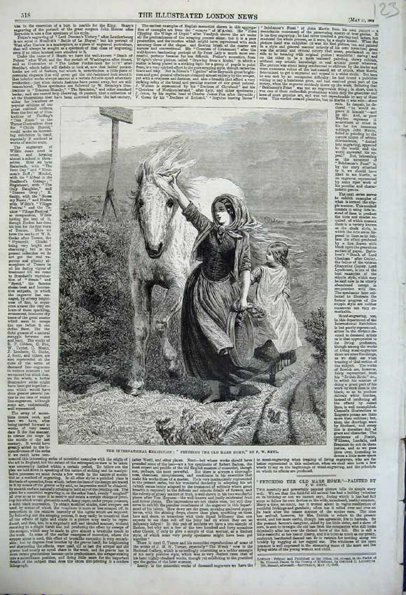 Print 1862 Woman Child Fetching Mare Home Horse Country Keyl 123N113 Old Original