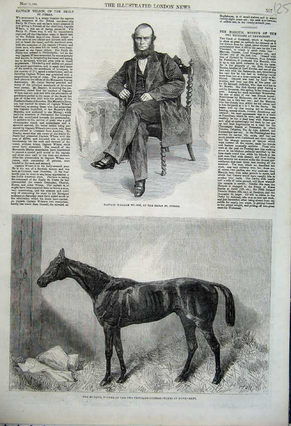 Print 1862 William Wilson Emily Pierre Marquis Horse Sport 125N113 Old Original