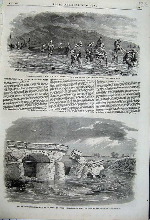 Print 1862 Bridge Collapse Ouse Norfolk Prince Wales Egypt 126N113 Old Original
