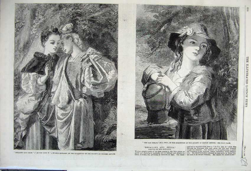 Print 1862 Rosalind Celia Girl Day Dreaming Miss Edwards 129N113 Old Original