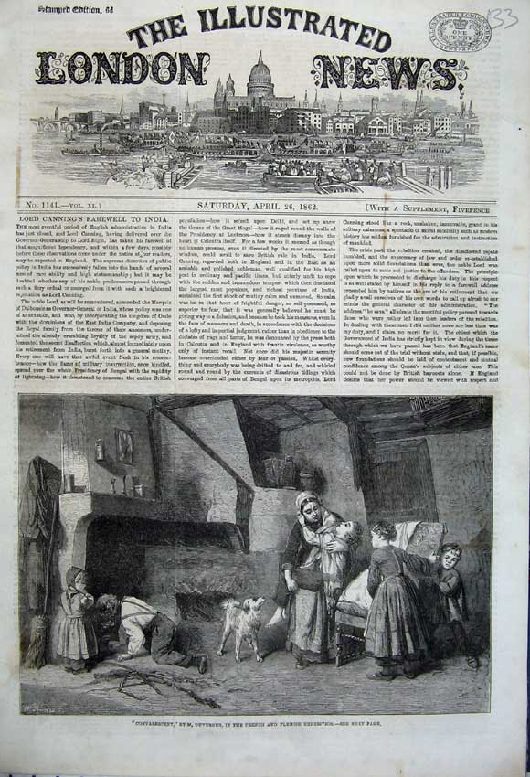 Print 1862 Convalescent Sick Children Fire-Side Dog French 133N113 Old Original