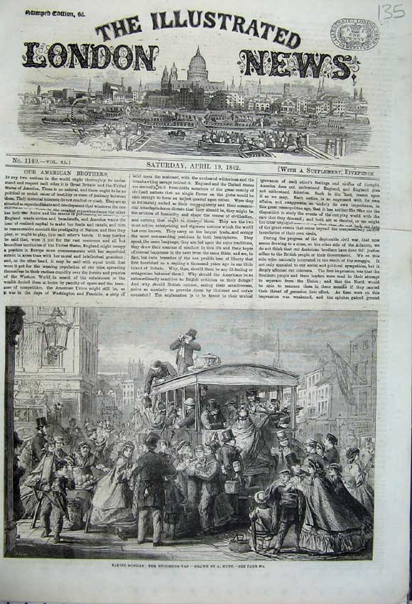 Print 1862 Easter Monday Excursion Van Holiday Families Fruit 135N113 Old Original
