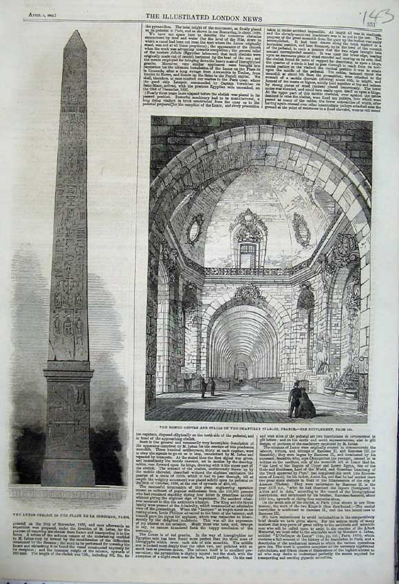 Print 1862 Luxor Obelisk Concorde Paris Chantilly Stables 143N113 Old Original