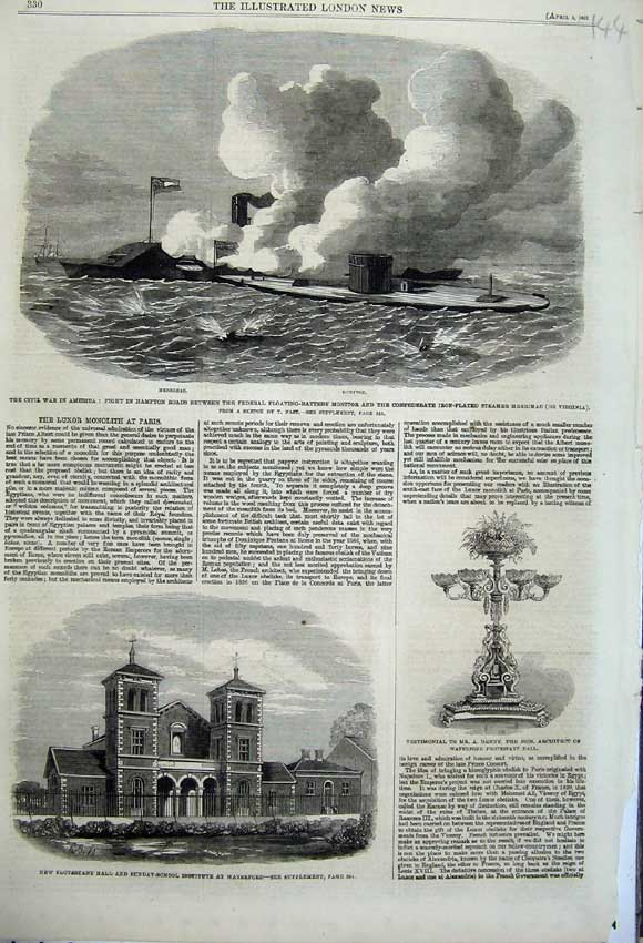 Print Protestant Sunday School Waterford 1862 Merrimac War 144N113 Old Original