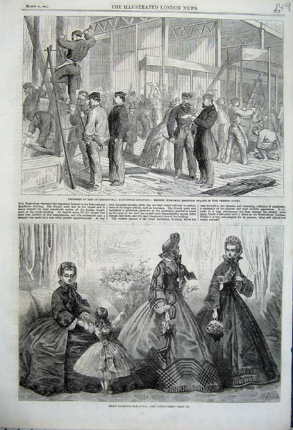 Print 1862 Paris Fashion Dress French Men Exhibition Building 149N113 Old Original