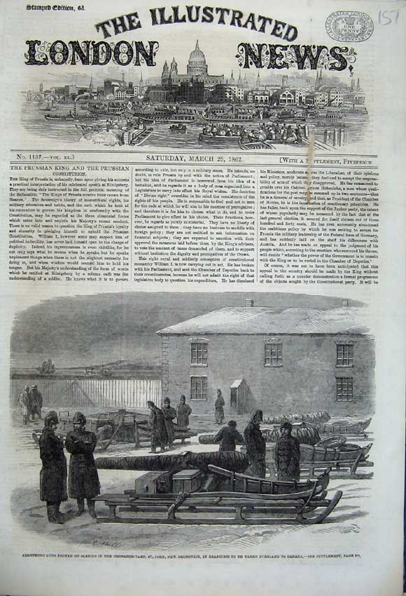 Print 1862 Armstrong Guns Sleigh Brunswick Canada Weapons 151N113 Old Original