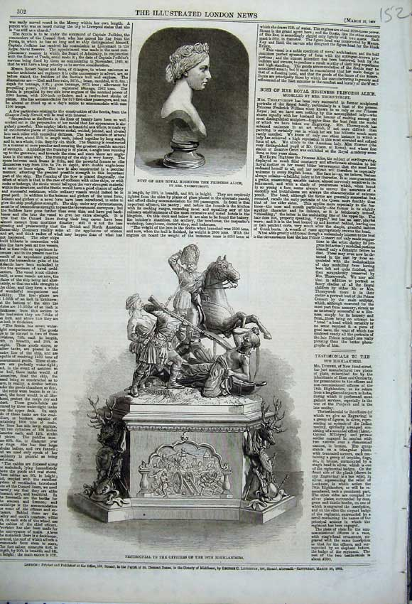 Print 1862 Testimonial Officers Highlanders Princess Alice 152N113 Old Original