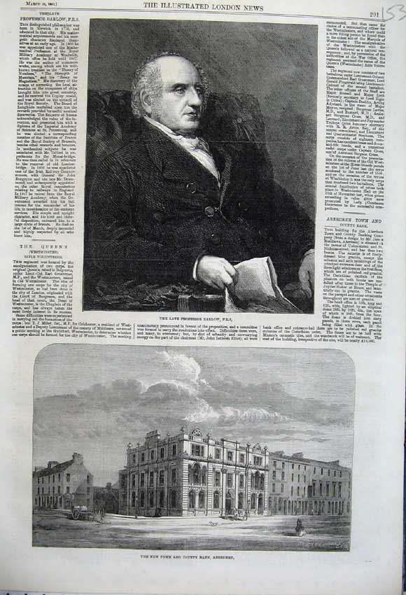 Print 1862 Town County Bank Aberdeen Professor Barlow Man 153N113 Old Original