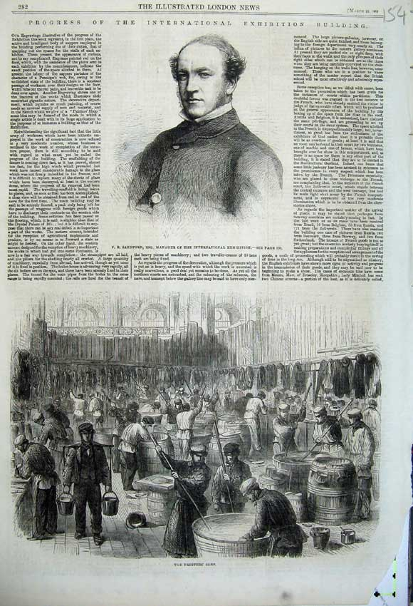 Print 1862 Sandford International Exhibiton Painters Shop Men 154N113 Old Original