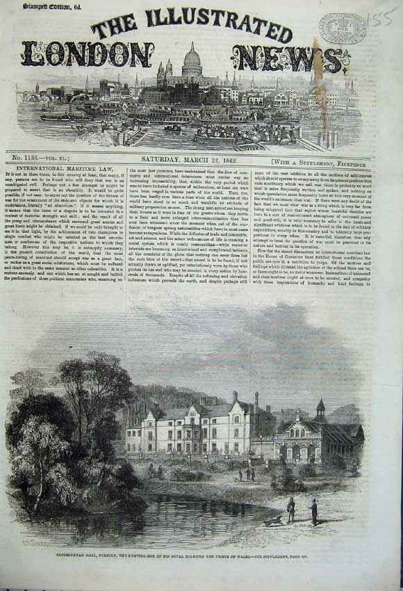 Print 1862 Sandringham Hall Norfolk Hunting Prince Wales Lake 155N113 Old Original