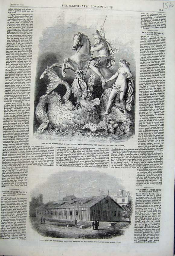 Print 1862 Drill Shed Burlington Gardens Fountain Witley Earl 156N113 Old Original
