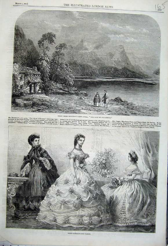 Print Paris Fashion 1862 Benedict Opera Lily Killarney Hills 165N113 Old Original