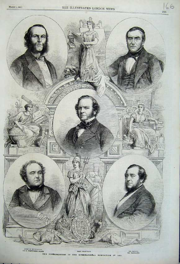 Print 1862 Commissioners Exhibition Grancille Baring Dilke 166N113 Old Original
