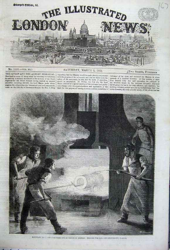 Print 1862 Manufacture Armstrong Gun Woolwich Arsenal Coil 167N113 Old Original