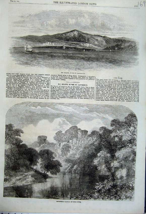 Print Bic Island River Lawrence 1862 Bothwell Castle Clyde 169N113 Old Original
