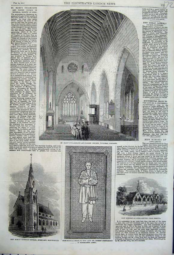 Print 1862 Mary Collegiate Ireland Catholic Church School 172N113 Old Original