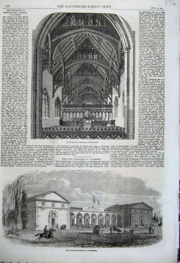 Print 1862 Battlefield Church Shropshire Florence Nazionale 176N113 Old Original
