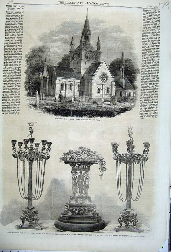 Print 1862 Whippingham Church Isle Wight Thomas Gibson Trophy 179N113 Old Original
