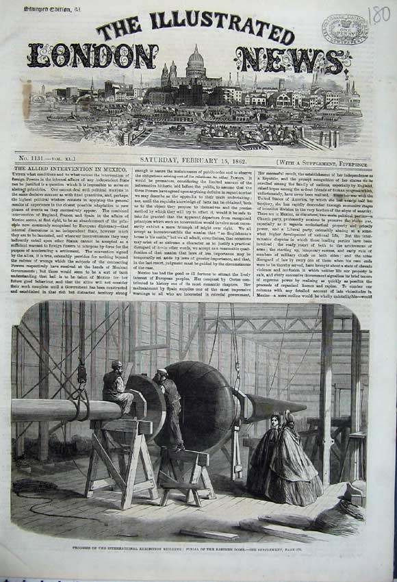 Print 1862 Finial Eastern Dome Exhibition Building Workmen 180N113 Old Original
