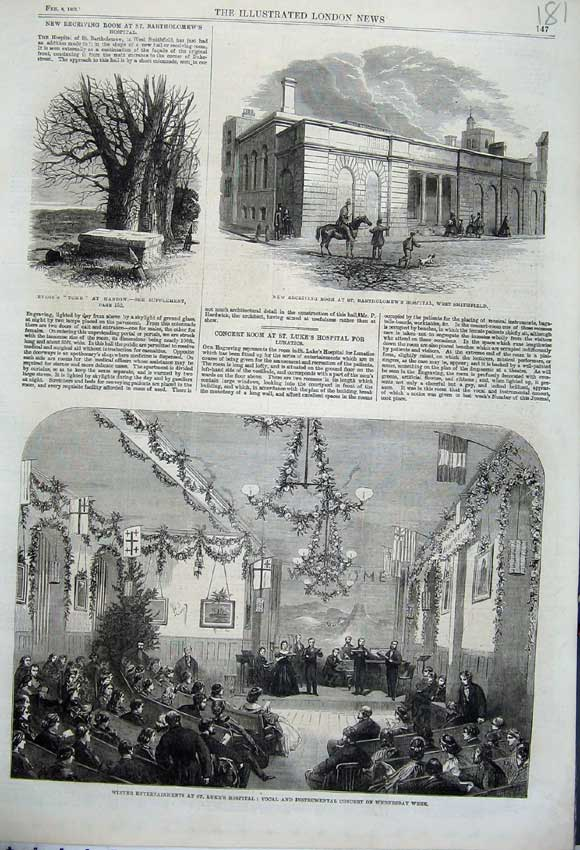 Print 1862 St Luke Hospital Vocal Music Concert Byron Tomb 181N113 Old Original