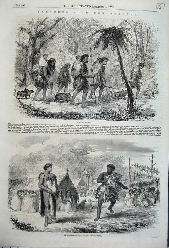 Print New Zealand 1862 Maories Disputing Territory Exodus 187N113 Old Original