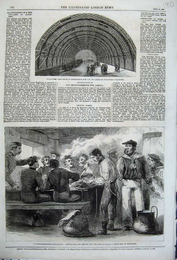 Print 1862 Canada Dinner Food Troop Ship Woolwich Drill Shed 190N113 Old Original
