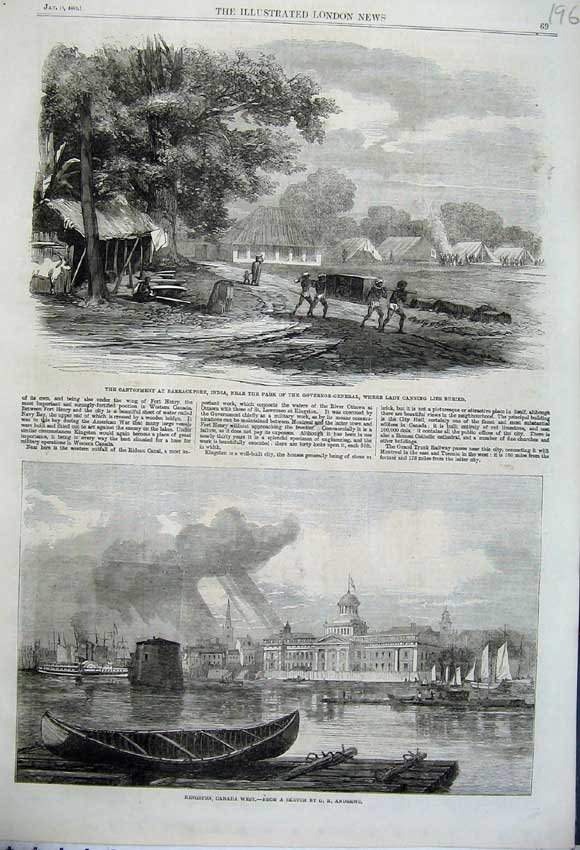 Print 1862 Kingston Canada Cantonment Barrackpore India 196N113 Old Original