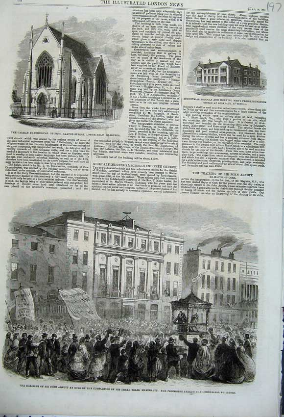 Print 1862 German Church Islington School John Arnott Cork 197N113 Old Original