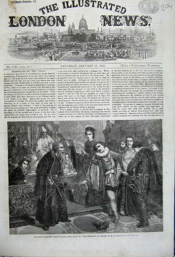 Print 1862 Merchant Venice Scene Royal Academy Prize Painting 204N113 Old Original