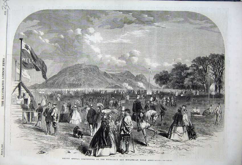 Print 1862 Competition Edinburgh Midlothian Rifle Association 304N113 Old Original