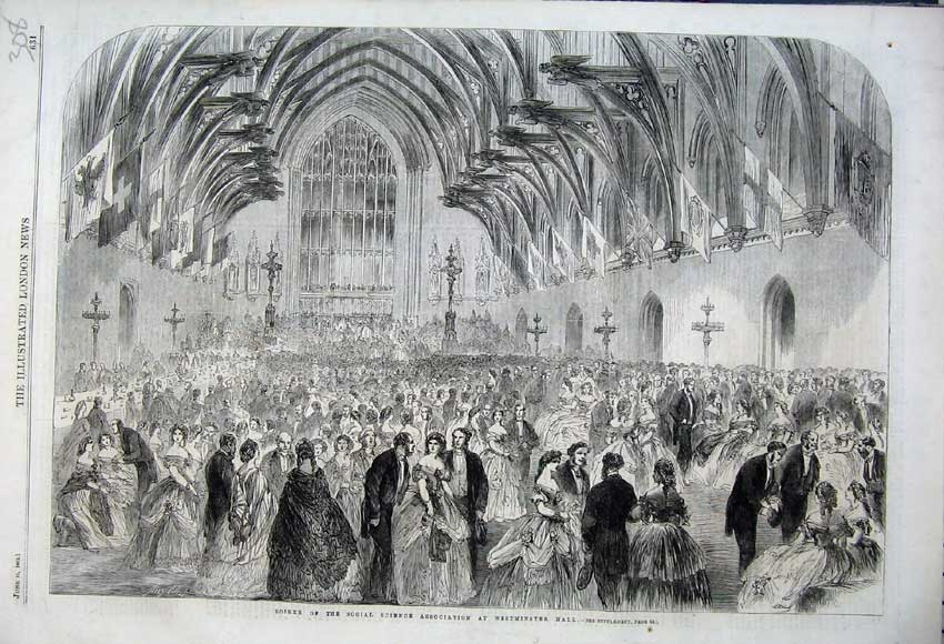 Print 1862 Soiree Social Science Association Westminster Hall 308N113 Old Original