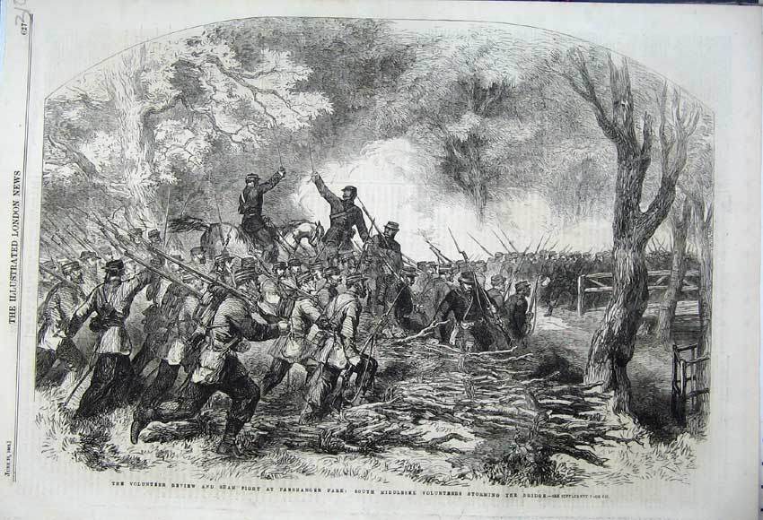 Print 1862 Volunteer Review Sham Fight Panshanger Park Bridge 310N113 Old Original