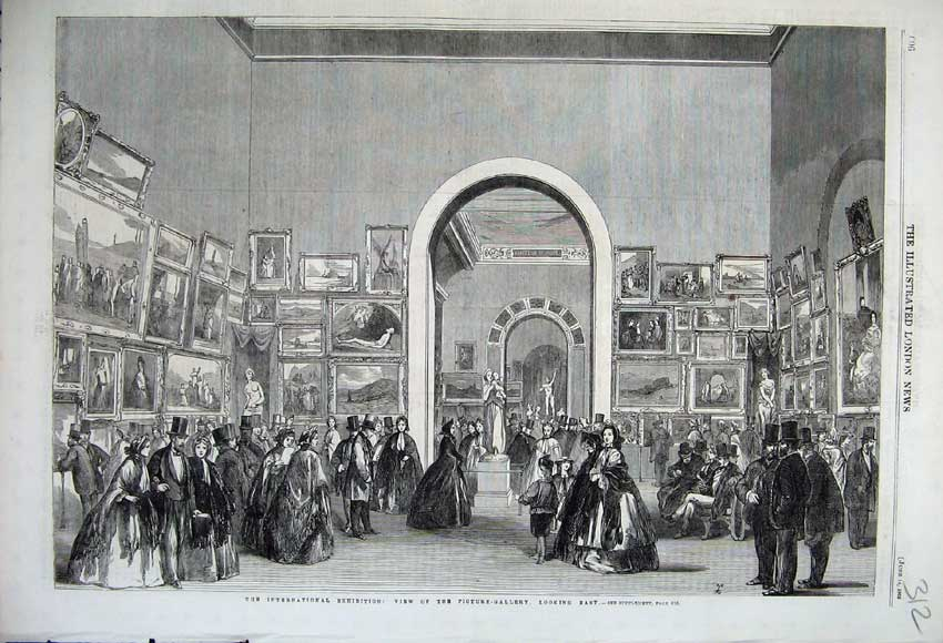 Print 1862 Picture-Gallery International Exhibition Paintings 312N113 Old Original